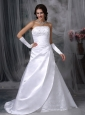 Custom Made A-line Strapless Low Cost Wedding Dress Satin Embroidery Court Train
