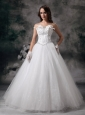 Custom Made A-line Strapless Wedding Dress Tulle Beading Floor-length