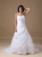 Custom Made A-line Sweetheart Low Cost Wedding Dress Taffeta and Organza Beading Court Train