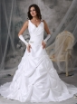 Custom Made A-line V-neck Wedding Dress Taffeta Beading Court Train