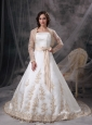 Custom Made A-line Wedding Dress Strapless Satin Embriodery Court Train