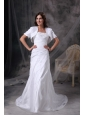Custom Made Column Strapless Wedding Dress Taffeta Appliques and Ruch Court Train