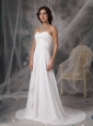 Custom Made Empire Sweetheart Wedding Dress Chiffon Appliques Court Train