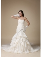Custom Made Mermaid Sweetheart low Cost Wedding Dress  Beading and Ruch Ruffles Taffeta Chapel Train