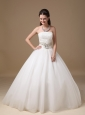 Custom Made Strapless Ball Gown Wedding Dress Satin And Tulle Beading Floor-length