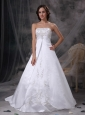 Custom Made Wedding Dress A-line Strapless Satin Embriodery Court Train