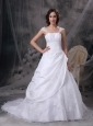 Custom Made White A-line Square Low Cost Wedding Dress Satin and Organza Embriodery Court Train