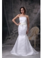 Custom Made White Mermaid Strapless Low Cost Wedding Dress Satin Belt Brush Train