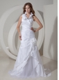Customize A-line Halter Wedding Dress Taffeta Hand Made Flowers Court Train