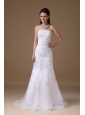 Customize A-line Strapless Wedding Dress Taffeta Lace Brush Train