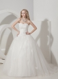 Customize A-line Wedding Dress Sweetheart Tulle Appliques Brush Train