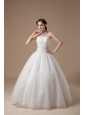 Customize Ball Gown Wedding Dress Strapless Satin And Tulle Appliques Floor-length