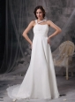 Customize Maternity Wedding Dress Empire Asymmetrical  Chiffon Ruch Court Train