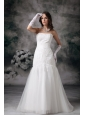 Customize Mermaid Strapless Wedding Dress Tulle Lace Brush Train