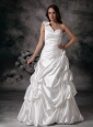 Customize One Shoulder Wedding Dress Pick ups Floor-length