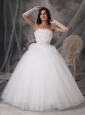 Customize Strapless Ball Gown Wedding Dress Tulle Appliques Floor-length