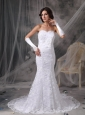Customize Trumpet / Mermaid Sweetheart Lace Wedding Dress Beading Court Train
