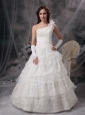 Customize Wedding Dress A-line One Shoulder Satin and Lace Floor-length