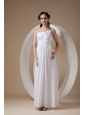 Elegant Empire Spaghetti Straps Wedding Dress Chiffon Ruch and Hand Made Flowers Ankle-length
