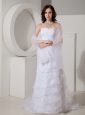 Fashionable  Column / Sheath Sweetheart Wedding Dress Organza Appliques Court Train