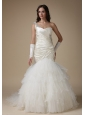 Fashionbale Mermaid One Shoulder Wedding Dress Taffeta and Organza Appliques and Ruch Court Train
