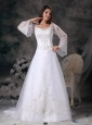 Gorgeous A-line Square Wedding Dress Organza Appliques Court Train