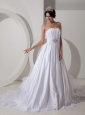 Lovely A-line Strapless Wedding Dress Taffeta Beading and Ruch Brush Train
