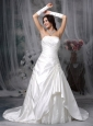 Modest A-line Strapless Wedding Dress Taffeta Appliques Court Train