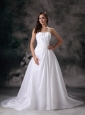 Modest A-line Strapless Wedding Dress Taffeta Beading Court Train