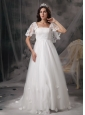 Perfect Empire Square Low Cost Wedding Dress Tulle and Lace Appliques Court Train