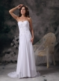 Romantic Column Sweetheart Wedding Dress Chiffon Beading Brush Train
