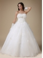 Simple A-line Strapless Wedding Dress Taffeta and Organza Appliques Floor-length