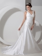 Sweet Column V-neck Low Cost Wedding Dress Satin Ruch and Appliques Court Train