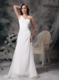 White A-line One Shoulder Wedding Dress Chiffon and Taffeta Beading and Ruch Brush Train