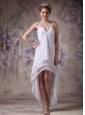 White Empire Sweetheart Short Wedding Dress Chiffon Beading High-low