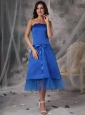 Beautiful Blue A-Line / Princess Strapless Homecoming Dress Taffeta Sashes / Ribbons Tea-length