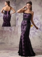Brand New Eggplant Purple and Black Evening Dress Mermaid Strapless Lace Sashes Brush Train