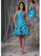 Cheap Aqua Blue Cocktail Dress A-Line / Princess Strapless Taffeta Beading Mini-length