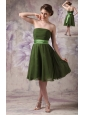 Cheap Olive Green Cocktail Dress Empire Strapless Chiffon Sash Knee-length