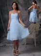Custom Made Baby Blue Empire Homecoming Dress Sweetheart Chiffon Ruch Knee-length