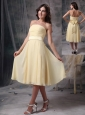 Custom Made Light Yellow Empire Homecoming Dress Strapless Ruch Chiffon Tea-length