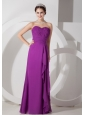 Custom Made Purple Empire Sweetheart Homecoming Dress Chiffon Ruch Floor-length