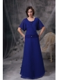 Custom Made Royal Blue A-line Mother Of The Bride Dress Square Chiffon Beading Floor-length