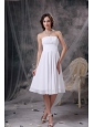 Custom Made White A-line Strapless Homecoming Dress Chiffon Ruch Knee-length