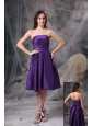 Customize Eggplant Purple Knee-length Knee-length Bridesmaid Dress A-line Strapless