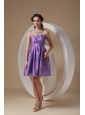 Customize Lavender Cocktail Dress A-line Strapless Taffeta Ruch Mini-length