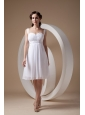 Cute White Cocktail Dress Column / Sheath Straps Chiffon Beading Knee-length