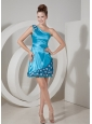 Formal Aqua Blue Column One Shoulder Prom / Homecoming Dress Taffeta Hand Made Flowers Mini-length