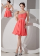 Lovely Orange Red Empire One Shoulder Homecoming Dress Chiffon Beading and Ruch Mini-length