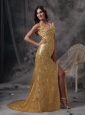 Low Price Gold Empire V-neck Evening Dress Sequin Beading and Ruch Floor-length